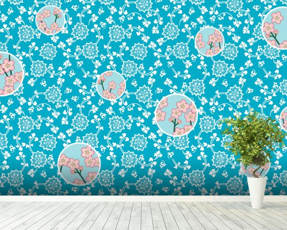 Sky wall mural room setting