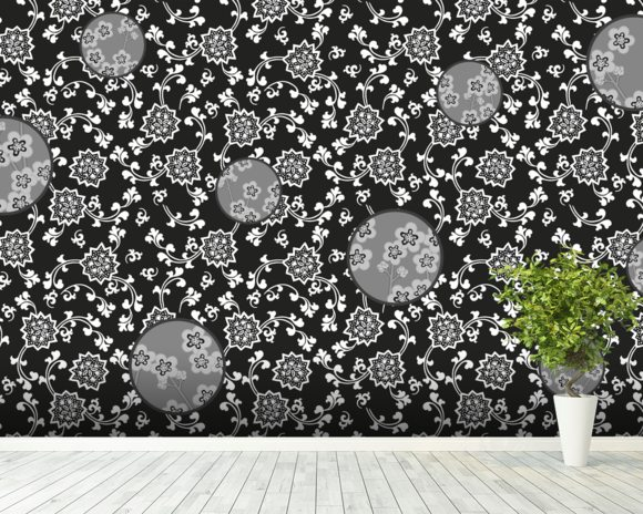 Night Flower wall mural room setting