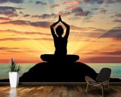 Yoga Silhouette wallpaper mural kitchen preview
