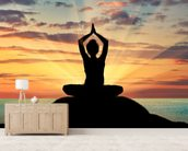 Yoga Silhouette wallpaper mural living room preview
