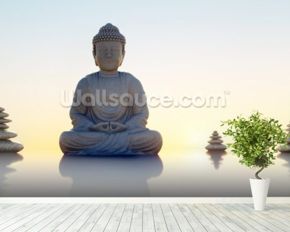 Buddha Panoramic mural wallpaper room setting