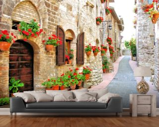 Tuscan Hill Town mural wallpaper