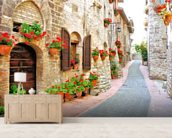 Tuscan Hill Town mural wallpaper living room preview