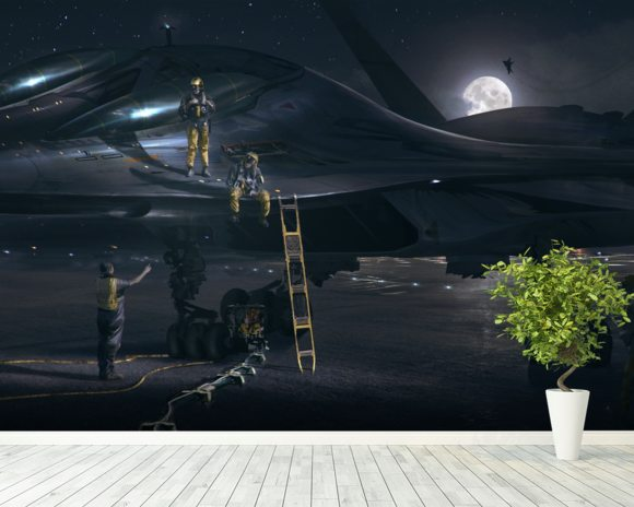 Night Rider wall mural room setting
