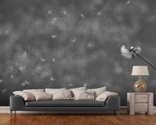 Dandelion in the Wind - Black and White mural wallpaper