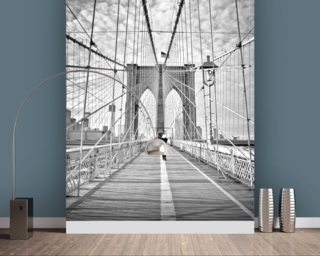 Girl photographing Brooklyn Bridge Wallpaper Wall Murals