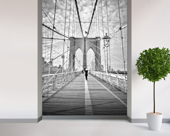 Girl photographing Brooklyn Bridge wall mural room setting