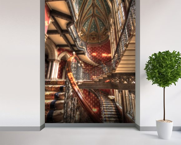 Grand Staircase at St Pancras Renaissance Hotel, London mural wallpaper room setting