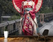 Japanese Geisha in Kyoto mural wallpaper kitchen preview