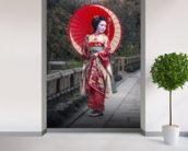 Japanese Geisha in Kyoto mural wallpaper in-room view