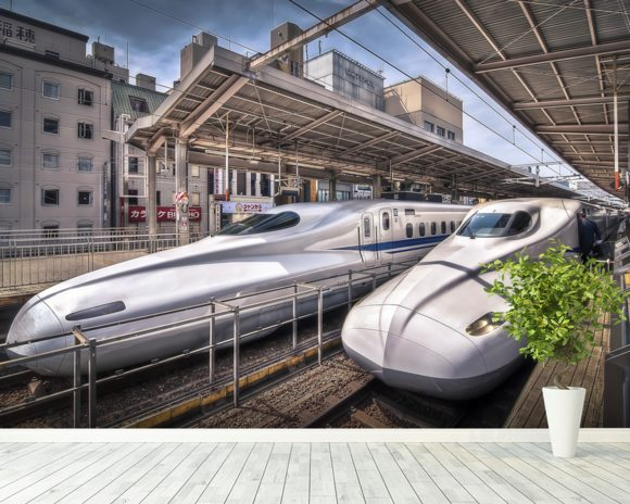 Japanese Bullet Trains wall mural room setting
