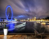 Light trails up The Thames mural wallpaper kitchen preview
