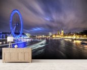 Light trails up The Thames mural wallpaper living room preview