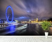 Light trails up The Thames mural wallpaper in-room view
