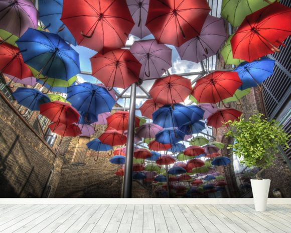 London Umbrella Art mural wallpaper room setting