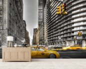 New York City cabs mural wallpaper living room preview