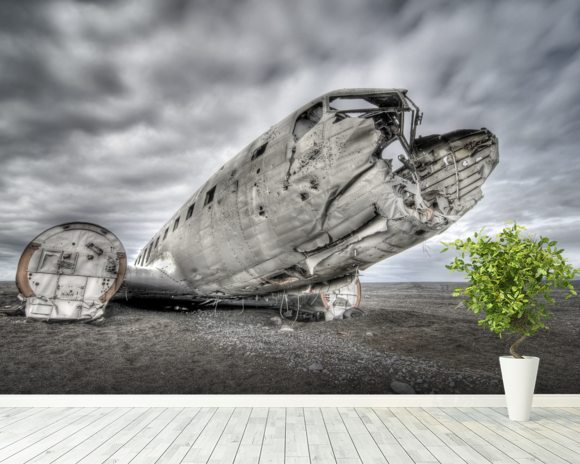 Old US Plane Wreck, Iceland wallpaper mural room setting