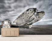 Old US Plane Wreck, Iceland wallpaper mural living room preview