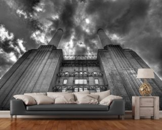 Plane over Battersea Power Station Mural Wallpaper Wall Murals Wallpaper