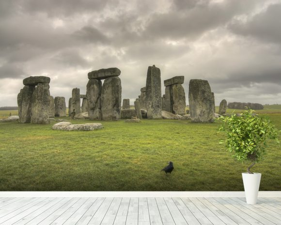 Storms over Stonehenge mural wallpaper room setting