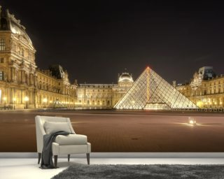 The Louvre at Night mural wallpaper