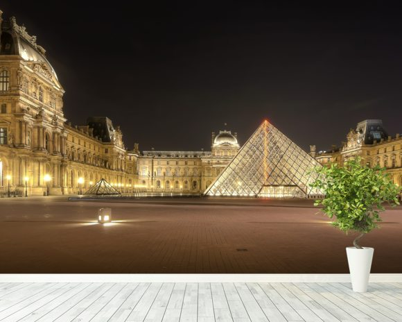 The Louvre at Night mural wallpaper room setting