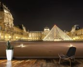 The Louvre at Night mural wallpaper kitchen preview