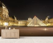The Louvre at Night mural wallpaper living room preview