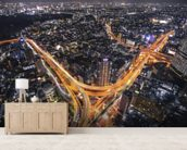 Tokyo Traffic mural wallpaper living room preview