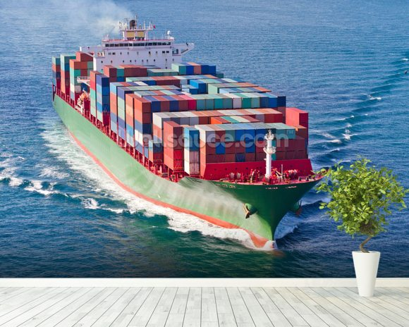 Container Ship mural wallpaper room setting