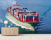 Container Ship mural wallpaper living room preview