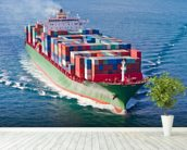 Container Ship mural wallpaper in-room view