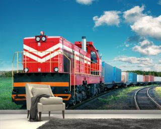 Red Freight Train wallpaper mural