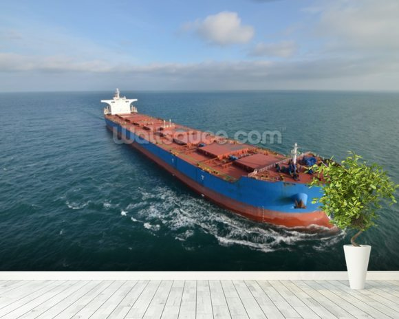 Giant Cargo Ship wall mural room setting