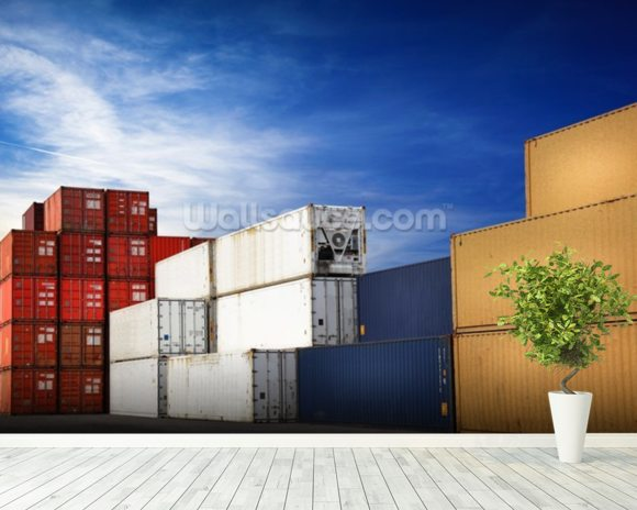 Shipping Containers wallpaper mural room setting