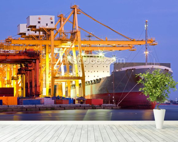 Dock Crane with Cargo Ship mural wallpaper room setting