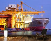 Dock Crane with Cargo Ship mural wallpaper kitchen preview