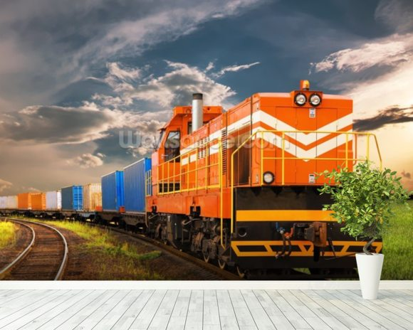 Orange Freight Train mural wallpaper room setting