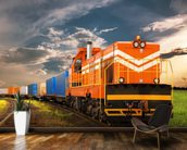 Orange Freight Train mural wallpaper kitchen preview