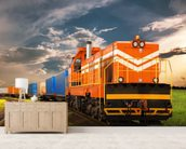 Orange Freight Train mural wallpaper living room preview