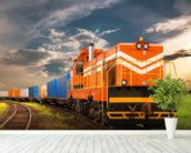 Orange Freight Train mural wallpaper in-room view