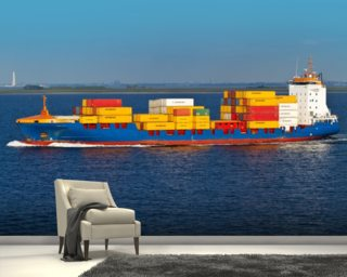 Shipping Containers Onboard wall mural
