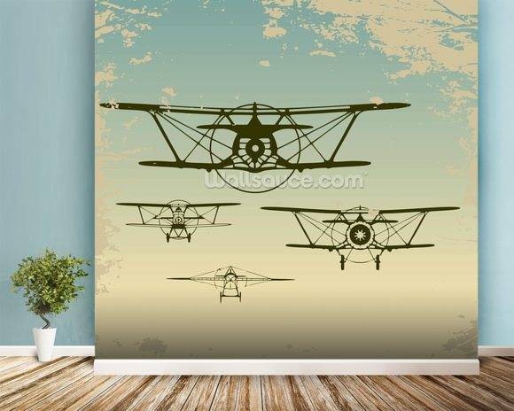 Retro Planes wall mural room setting