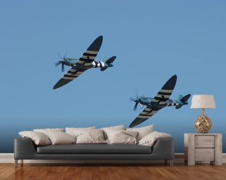 Spitfires in Flight wallpaper mural