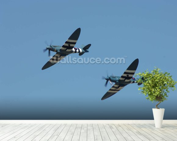 Spitfires in Flight wallpaper mural room setting