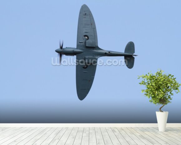 Spitfire Under Carriage mural wallpaper room setting