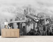 DC-3 Over NYC mural wallpaper living room preview
