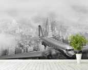 DC-3 Over NYC mural wallpaper in-room view