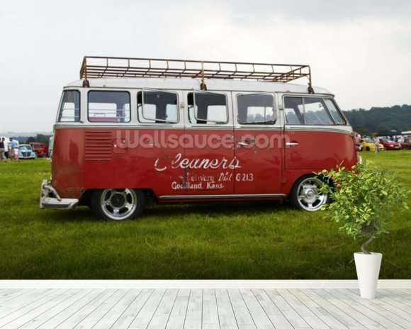 VW Camper Red wall mural room setting