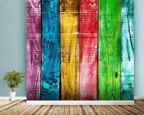 Painted Wooden Planks wallpaper mural room setting